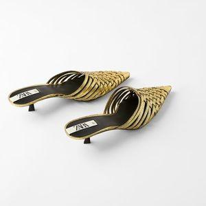 ZARA woven metallic heeled mules. NWOT